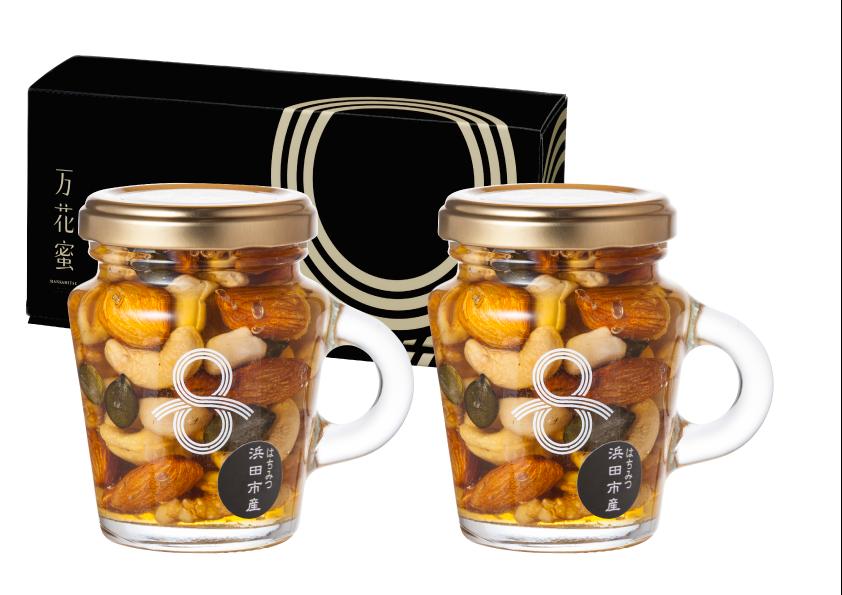 浜田市の天然はちみつを使用した人気の「はちみつナッツ」(2本セット)