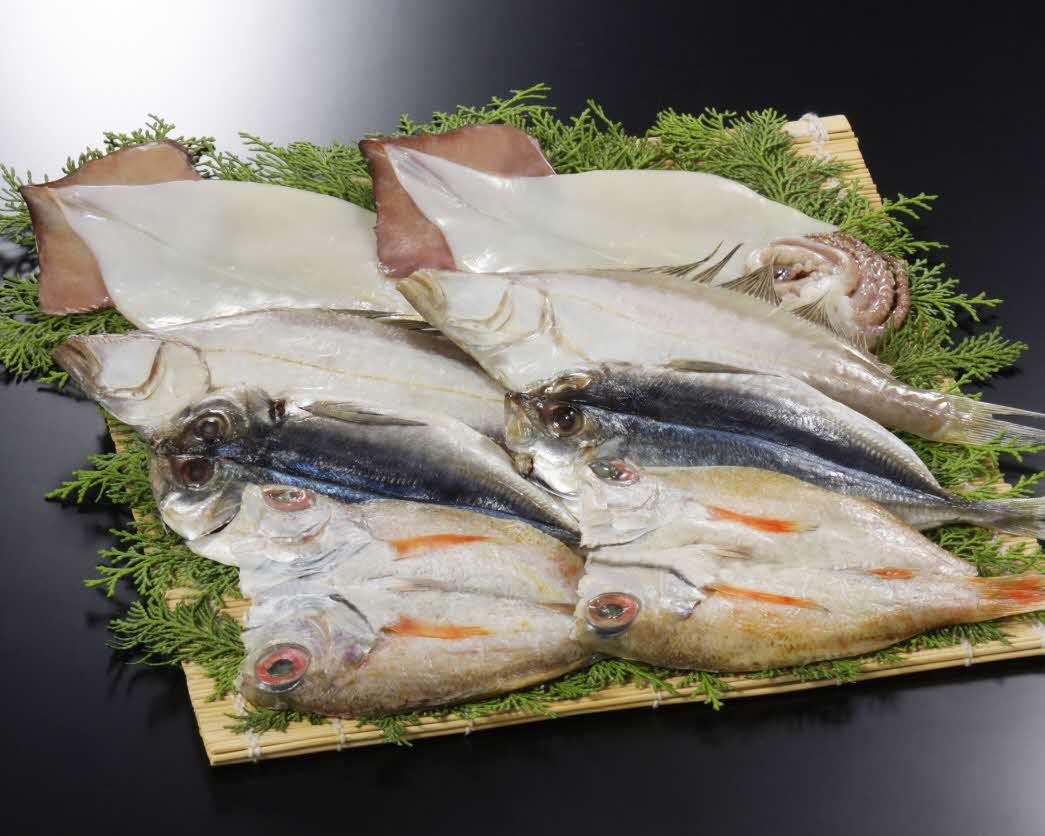 奉書干し「日本海の幸」詰合せ(のどぐろ、あじ、えてかれい、するめいか 各2枚)