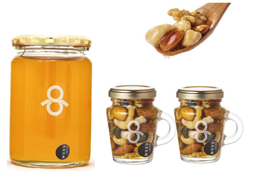 浜田市の天然はちみつ450gと「はちみつナッツ」(3本セット)