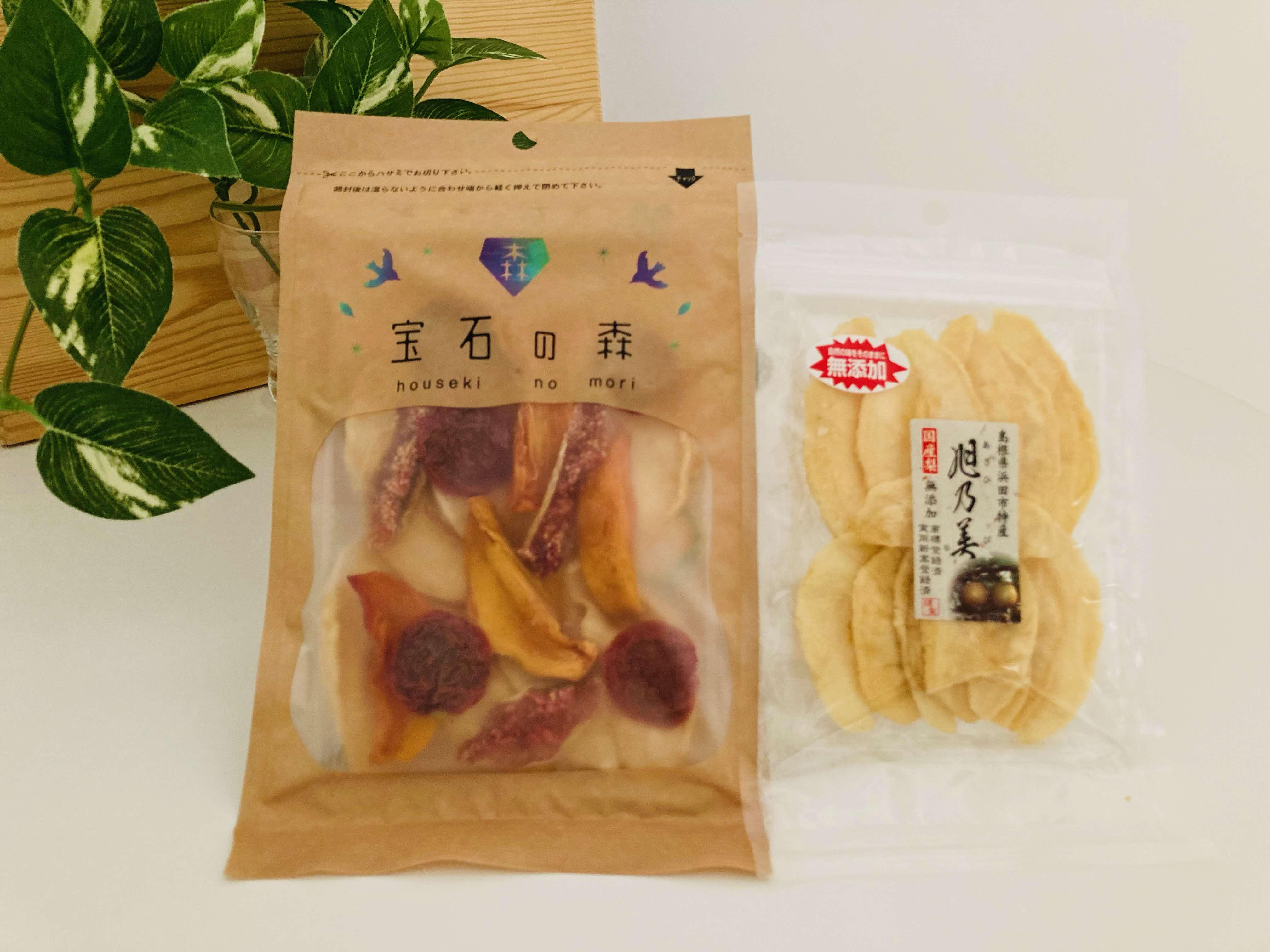 浜田市特産の西条柿・梨・いちじくを使ったドライミックスとカット干し梨